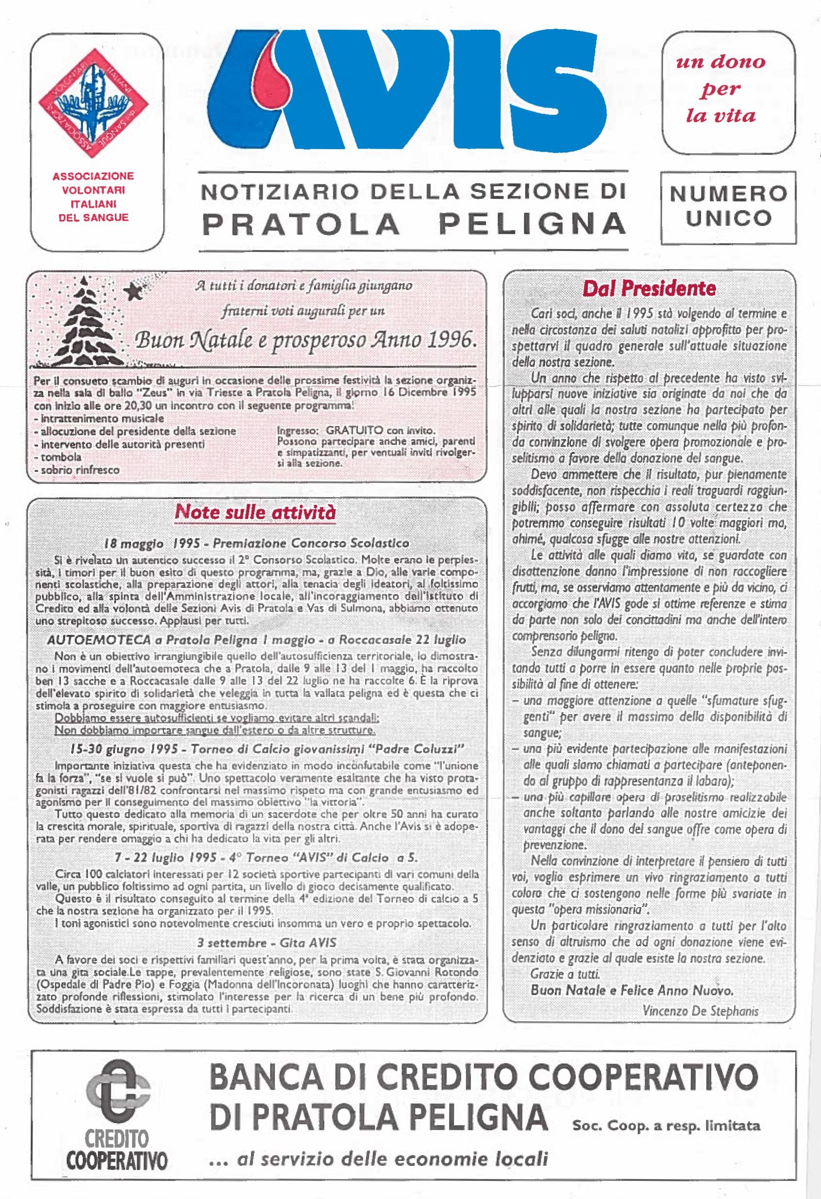 Notiziario Avis - Natale 1995