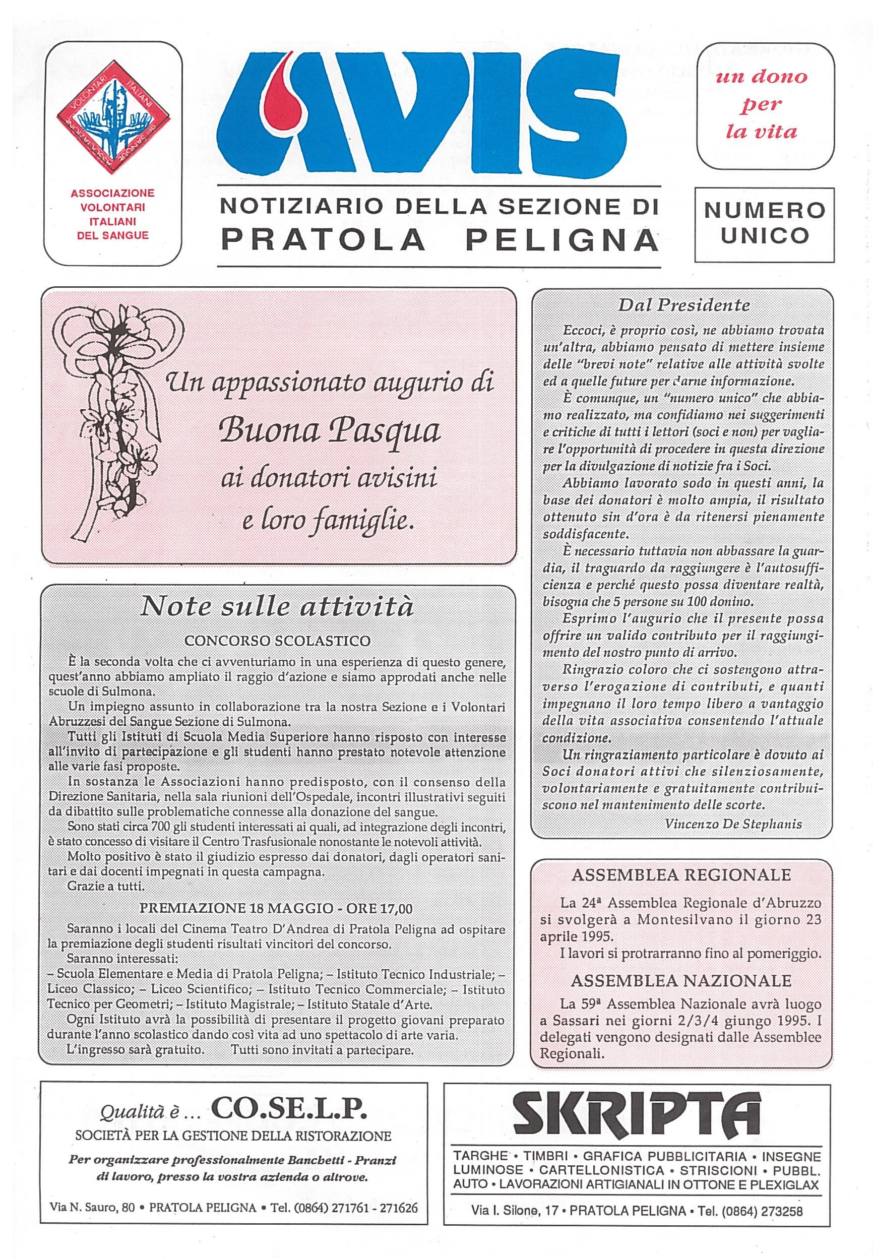Notiziario Avis - Pasqua 1995